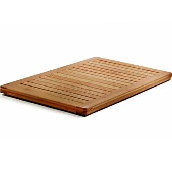 Breakwater Bay Yessenia Rectangle Teak Wood Striped Shower Mat Reviews Wayfair