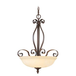 Fleur De Lis Living Brew Kettle 3-Light Bowl Pendant