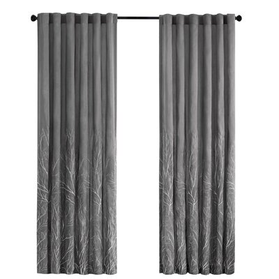 August Grove Gladeview Nature/Floral Room Darkening Rod Pocket Single Curtain Panel Size per Panel: 50 W x 95 L, Color: Charcoal