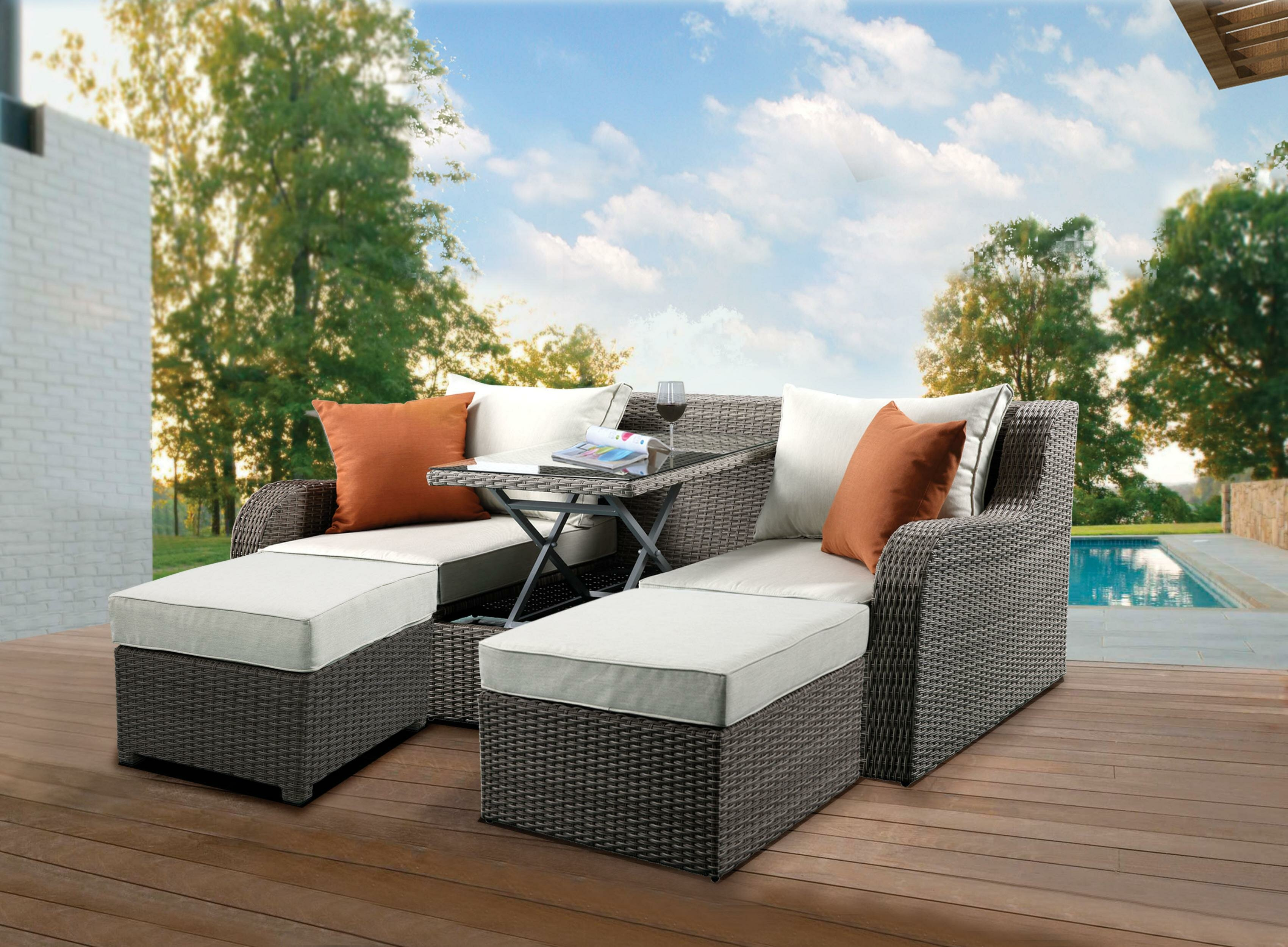 Prime Resin Wicker And Metal Patio Convertible Sofa With Two Ottomans Beige And Grey Set Of Three Spiritservingveterans Wood Chair Design Ideas Spiritservingveteransorg