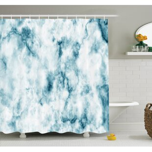 Fluffy Cloud Skyline Like Marble Motif with Grunge Features Art Image Shower Curtain Set