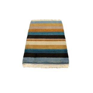 Zephyr Handwoven Wool Blue/Black/Beige Indoor/Outdoor Rug By Ebern Designs