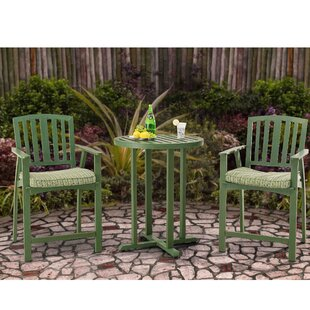 August Grove Barrister Lane 3 Piece Bistro Set with Cushions