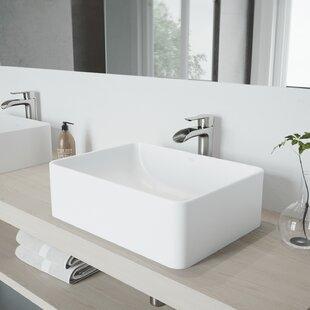 Inexpensive VIGO Matte Stone Rectangular Vessel Bathroom Sink with Faucet By VIGO