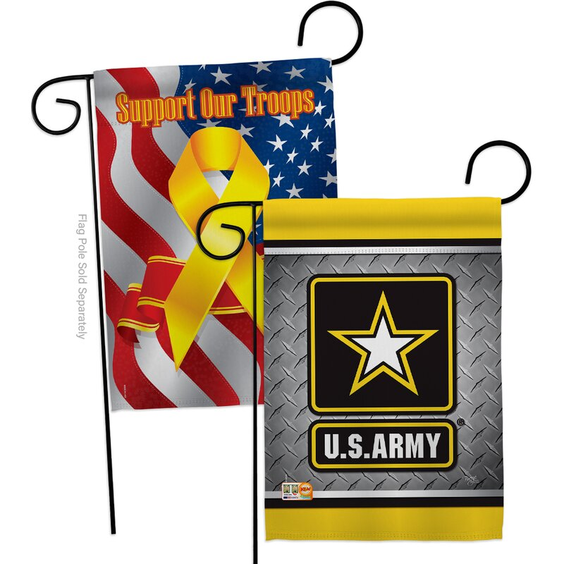 Breeze Decor American Army Steel Impressions Decorative Support Our Troops 2 Sided Polyester 19 X 13 In Garden Flag Wayfair
