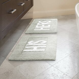 His and Hers Cotton 2 Piece Bath Rug Set