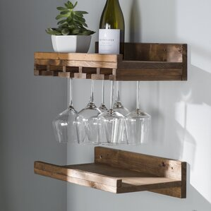 tristen rustic wall mounted wine glass rack set of 2