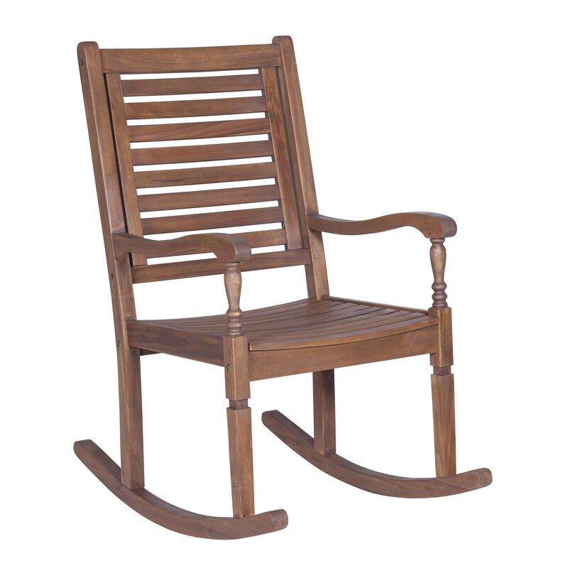 Imene Solid Acacia Wood Patio Rocking Chair Gallery