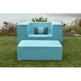 Acheson Patio Chair with Sunbrella Cushions and Ottoman