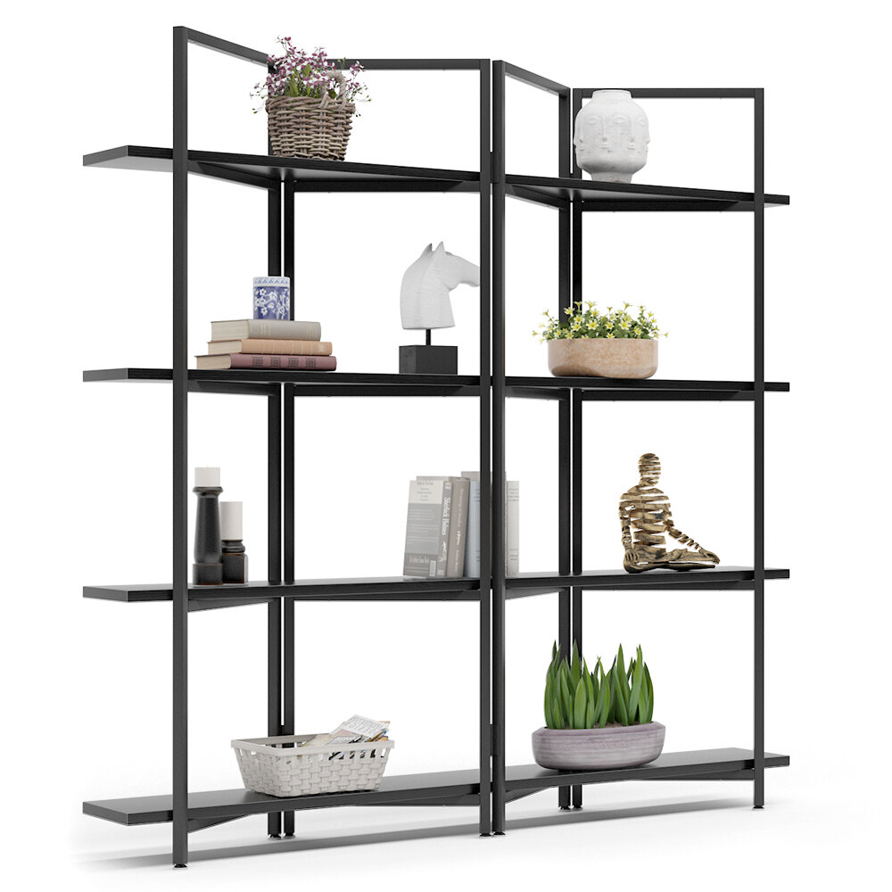 17 Stories Cassell 70 86 H X 70 07 W Metal Etagere Bookcase Wayfair
