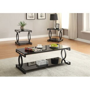 Brodhead Metal and Glass 3 Piece Coffee Table Set