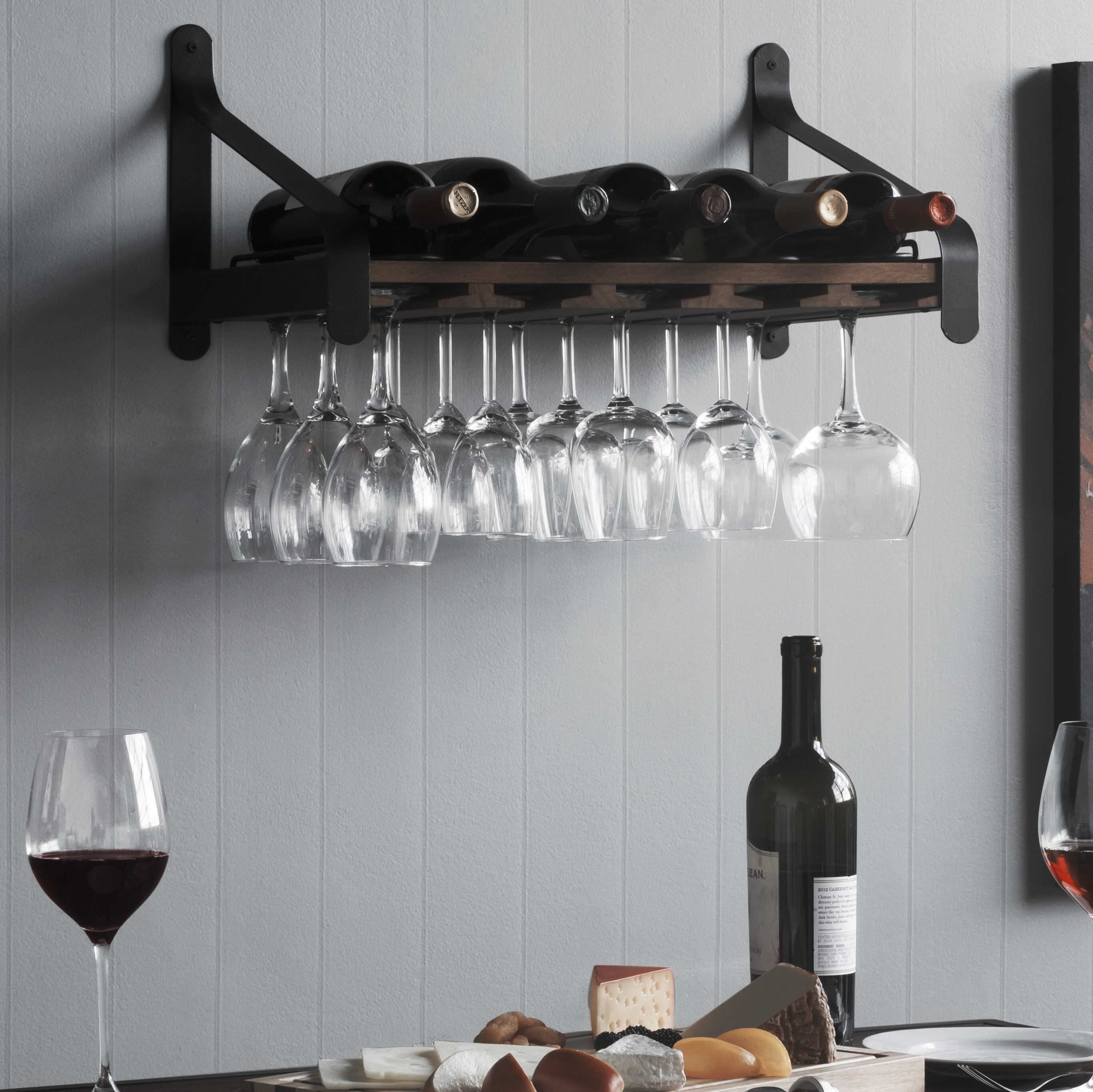 Union Rustic Stowe 5 Bottle Solid Wood Wall Mounted Wine Bottle And Glass Rack In Walnut Reviews