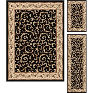 Buy clear Langlee 3 Piece Black Area Rug Set ByAstoria Grand