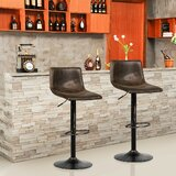 Verutiao Swivel Adjustable Height Bar Stool by Wrought Studio™