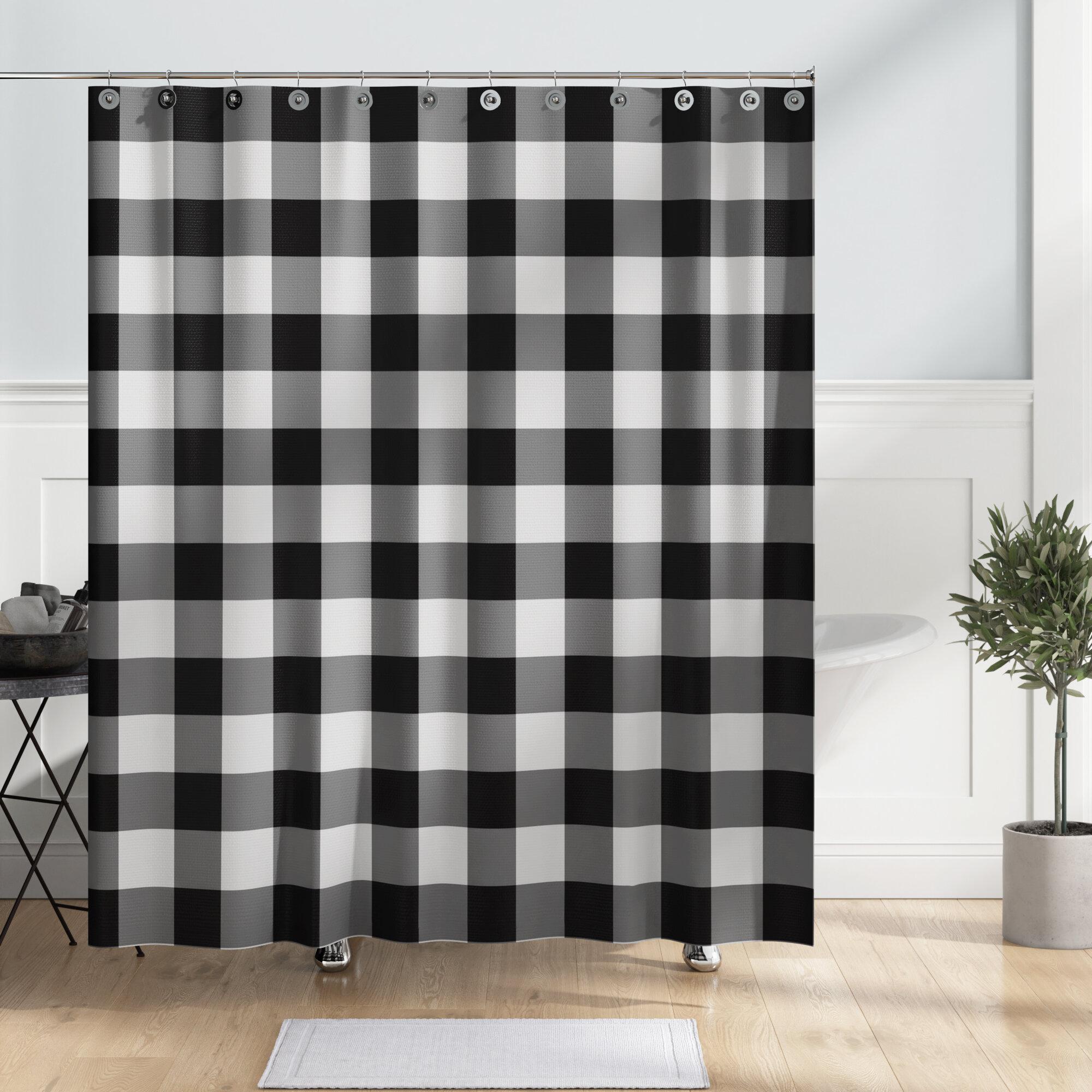 Nebraska Buffalo Check Single Shower Curtain