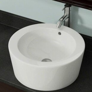 Vitreous China Circular Vessel Bathroom Sink with Overflow By Polaris Sinks