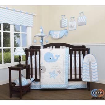 Royal Teddy Bear Theme Navy Blue White Baby Boys 7pc Nursery Crib Bedding Set