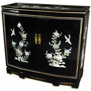 Camille Floral Design Slant Front Accent Cabinet