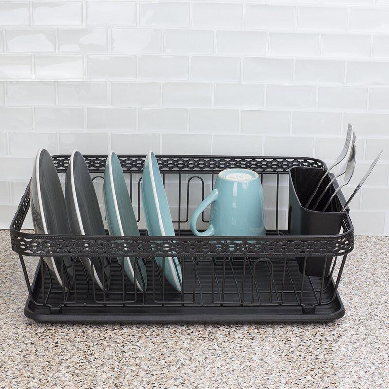 Home Basics Decorative Wire Steel Dish Rack Reviews Wayfair
