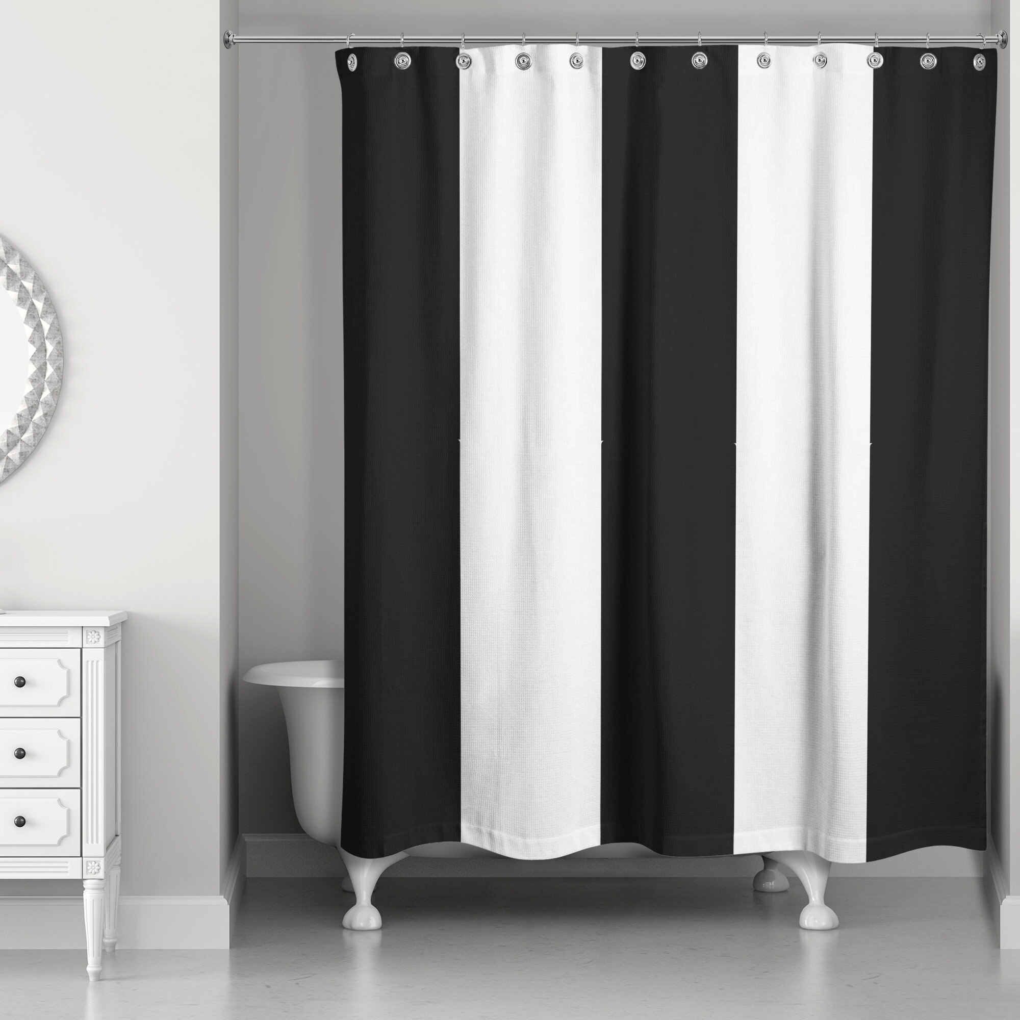 Orren Ellis Pelaez Vertical Striped Single Shower Curtain Wayfair