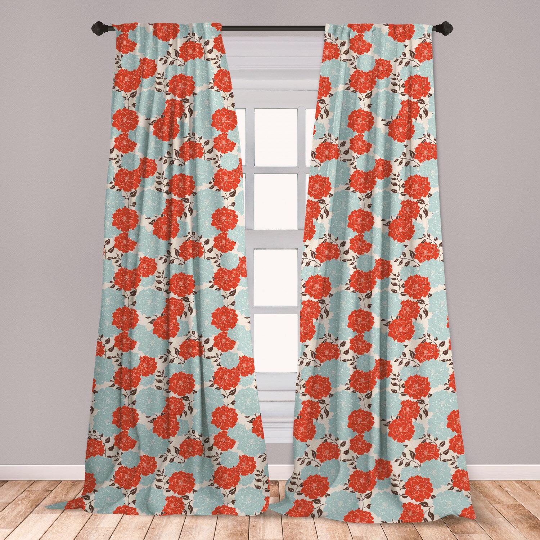 East Urban Home Renaissance Floral Room Darkening Rod Pocket Curtain Panels Wayfair