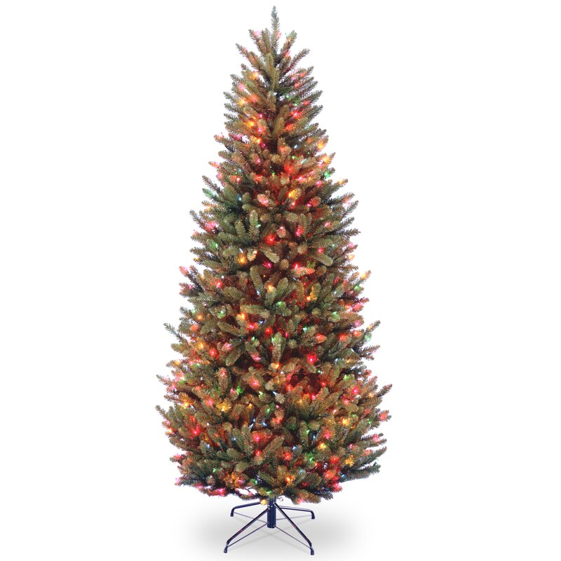 Natural Fraser Slim 9\' Green Fir Trees Artificial Christmas Tree with  Multi-Colored Lights