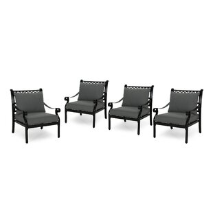 Swartz Outdoor Patio Chair with Cushions (Set of 4) by Alcott Hill