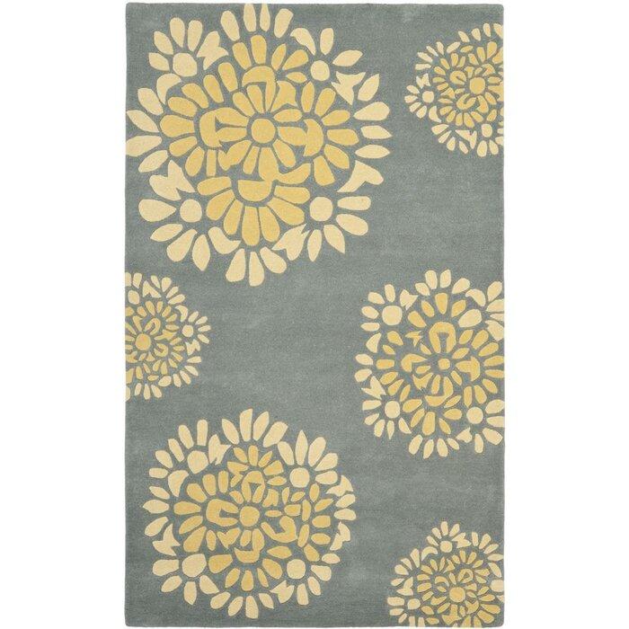 Martha Hand Tufted Cotton Gray Yellow Area Rug