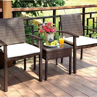 Red Barrel Studio Garzon 3 Piece Bistro Set with Cushions