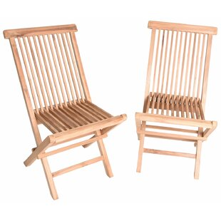 Rae Wood Folding Teak Patio Dining Chair (Set of 2)