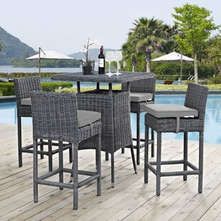 Brayden Studio Keiran 5 Piece Sunbrella Bar Height Dining Set with Cushions