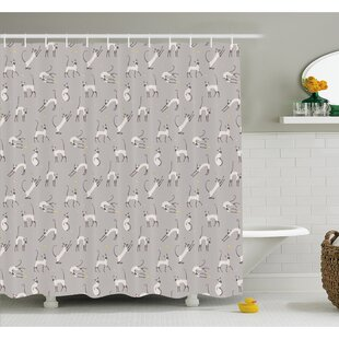 Cute Siamese Cat Wall Design Playing and Posing Feline Asian Kitty Animal Home Decor Shower Curtain Set