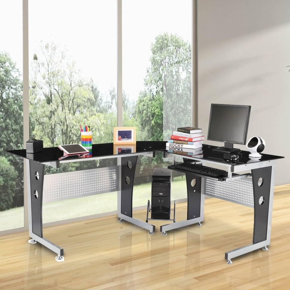 Incroyable Glass L Shape Computer Desk
