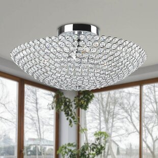 Mckellar 3-Light Bowl Shaped Crystal Semi Flush Mount by House of Hampton