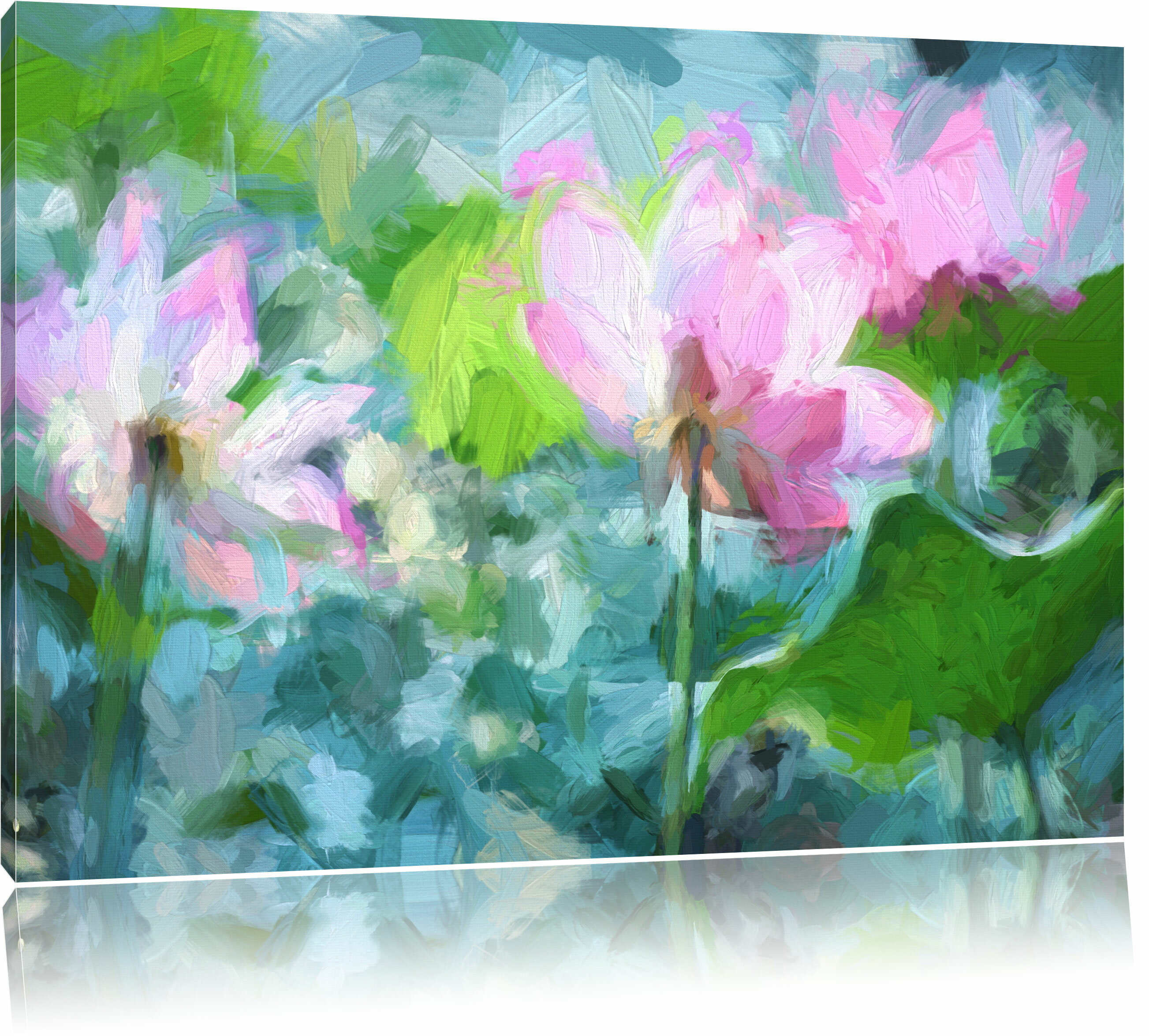 Home Loft Concept Asian Pink Lotus Blossom In A Pond Painting Print