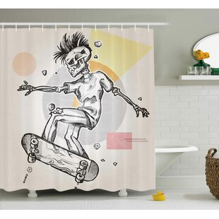 Order Skull Punk Rocker Skeleton Boy on a Skateboard Skiing With Abstract Background Shower Curtain By Ambesonne