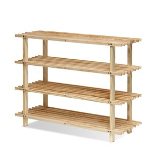 Charlton Home 4-Tier Wood Shoe Rack