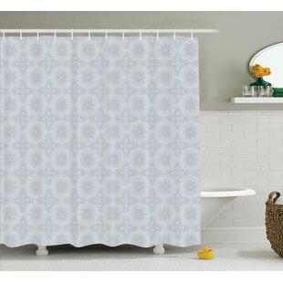Plymouth Retro Shaped Primitive Celtic Forms Shamrock Flower Inspired Digital Pattern Single Shower Curtain
