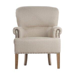 Occasional Antique White Linen Nailhead Trim Armchair by Joseph Allen