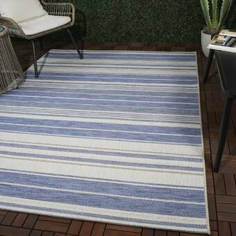 Union Rustic Eveloe All Weather Boho Chic Navy Blue Indoor Outdoor Area Rug Wayfair