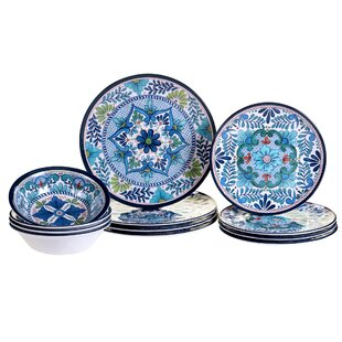 Talavera Heavy Weight 12 Piece Melamine Dinnerware Set Service for 4  sc 1 st  Wayfair : blue and white plate set - pezcame.com