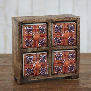 Fair Trade Mango Wood 4 Ceramic Drawer Jewellery Box by Paper High