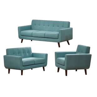 Langley Street Rohan 3 Piece Fabric Living Room Set