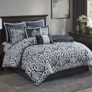 Tess True Navy Microfiber Reversible Modern & Contemporary 8 Piece Comforter Set