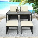 Adamjames Outdoor 5 Piece Rattan Seating Group with Cushions by Latitude Run®