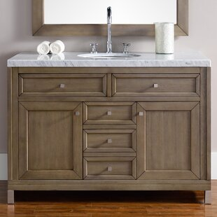 Valladares 48 Single White Washed Walnut Metal Legs Bathroom Vanity Set by Brayden Studio