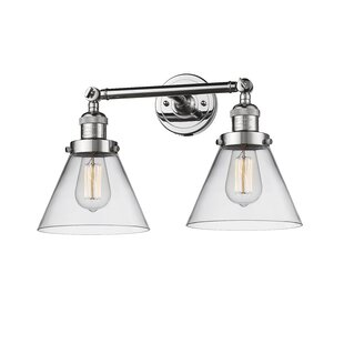 Best Choices Fulmer 2-Light Glass Cone Wall Sconce By Ebern Designs