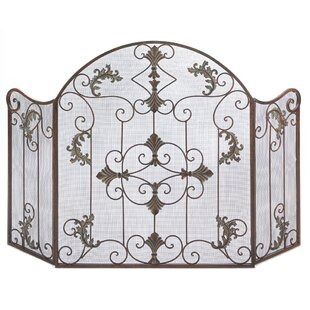 Embellished 3 Panel Iron Fireplace Screen by Zingz & Thingz