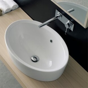 Check Prices Matty Ceramic Oval Vessel Bathroom Sink with Overflow By Scarabeo by Nameeks