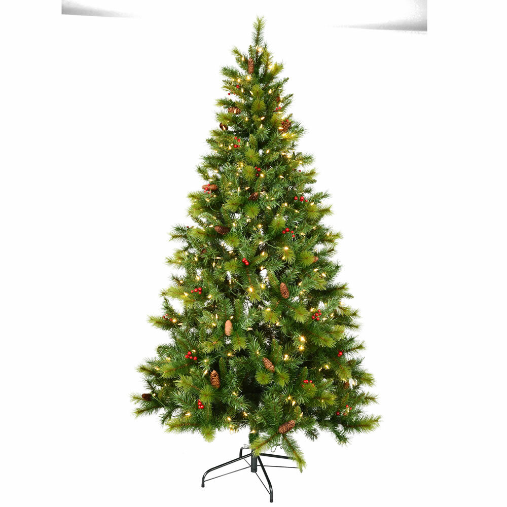 meet a5a38 64660 Melford Berry 7ft Green Pine Artificial Christmas Tree with Coloured and  White Lights with Stand